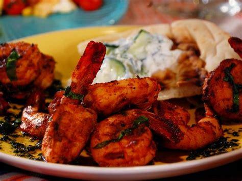 recipe shrimp and scallion skewers with creamy grilled pepper sauce grilled shrimp skewers with cilantro mint chutney recipe