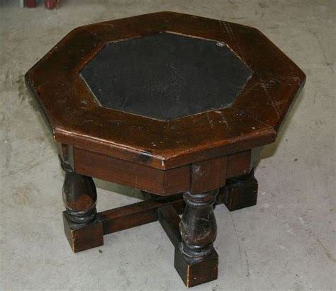 chalk paint quincy il what to do w wood octagonal 80 s end table glass top ick