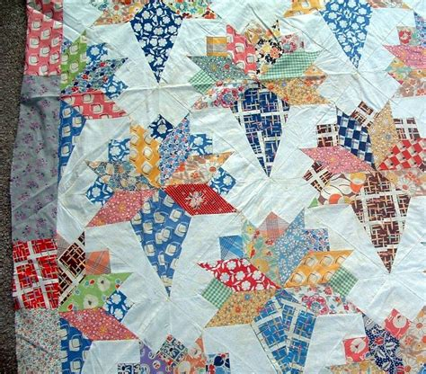 Vintage Quilt Top by Antique 1940 S Nosegay Pattern Cotton Feedsack Fabric