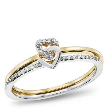 10k yellow gold and sterling silver diamond accent promise