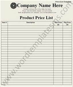 price list template download page word excel formats