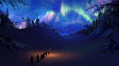 wallpaper skyrim rpg art torch polar lights games 502