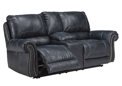 power reclining console loveseat curly s furniture milhaven navy double power reclining