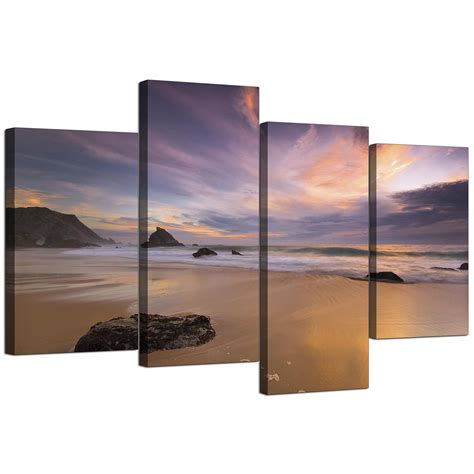 canvas prints canvas prints of a beach sunset for your kitchen 4 panel