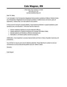 Rn Cover Letters by Leading Professional Perioperative Cover Letter Exles Resources Myperfectcoverletter