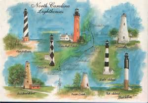 nc lighthouses map faintly shows map of coast and where