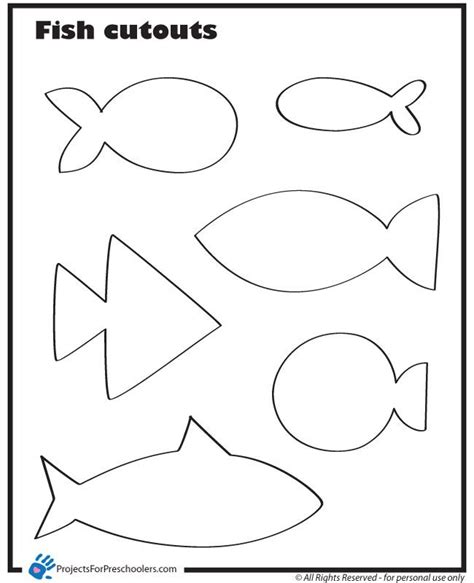 printable fish template template for fish print out on different colored paper