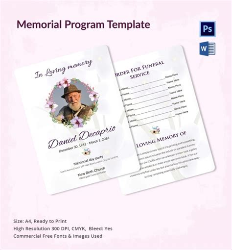 memorial program templates 11 sle memorial program template free sle