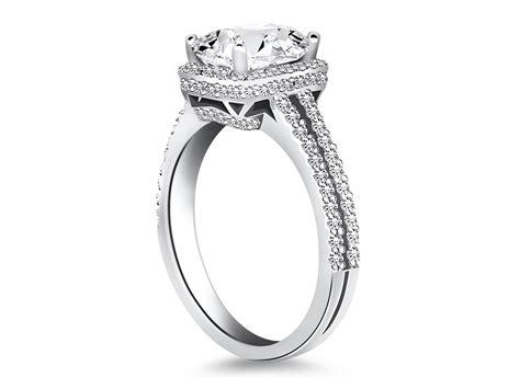 emerald cut halo split shank engagement ring