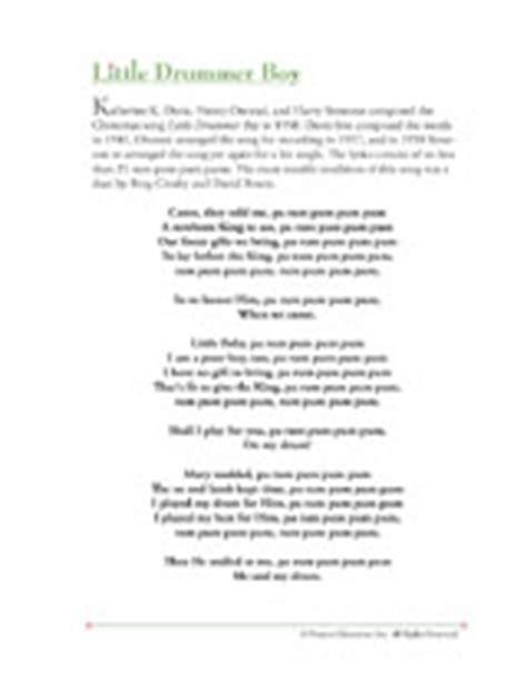printable lyrics for the little drummer boy christmas song lyrics little drummer boy printable
