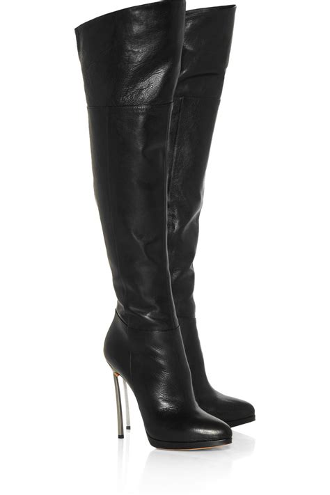 casadei leather thigh boots in black lyst