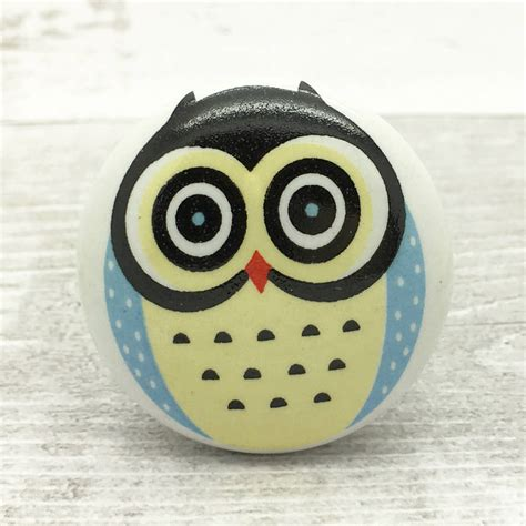 brum owl ceramic door knob cupboard pull handle by g decor