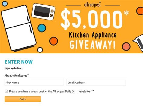 Appliance Giveaway 2016 - allrecipes 5 000 kitchen appliance giveaway sweepstakes sweepstakes fanatics