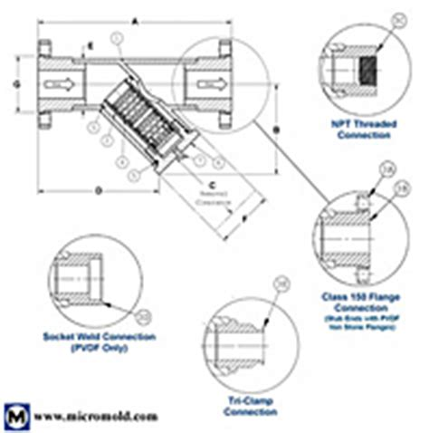 Y Strainer Drawing by Socket Weld On Micromold Products Inc