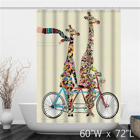 bicycle shower curtain colorful giraffe ride lovers bike shower curtain custom