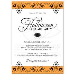 halloween costume party invitation with ornate black and