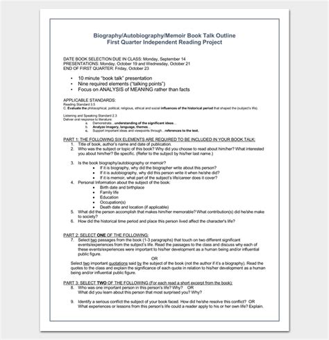 autobiography layout autobiography outline template 23 exles and formats