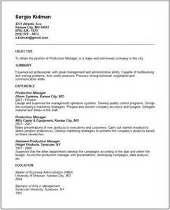 Television Production Manager Sle Resume by Sales Marketing Resume Exles