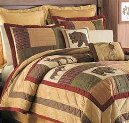 big sky full queen quilt set lodge log cabin bear deer
