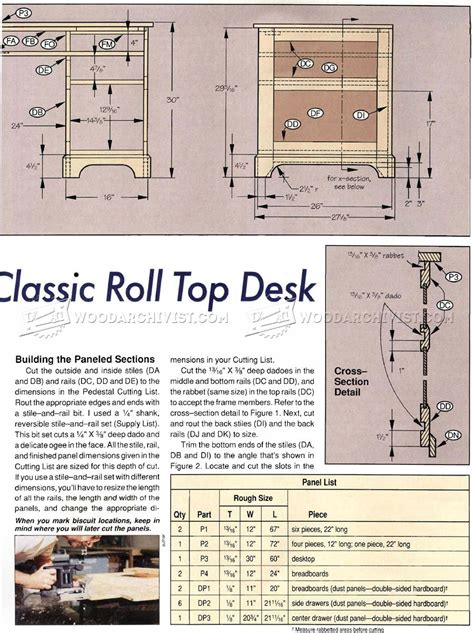 Roll Top Computer Desk Plans Roll Top Desk Plans Woodarchivist