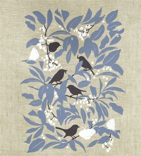 design embroidery screen print hand printed yellow robin and blueberry ash linen tea towel
