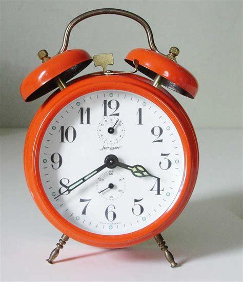 industrialrelic jerger wind up alarm clock from clockview dot orange marmalade