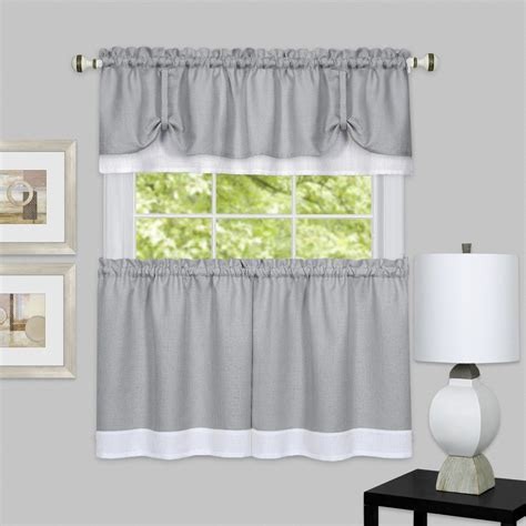 Grey Valance Curtains Darcy 3 Pc Tier Valance Set Kitchen Curtain Textured Layer Grey White