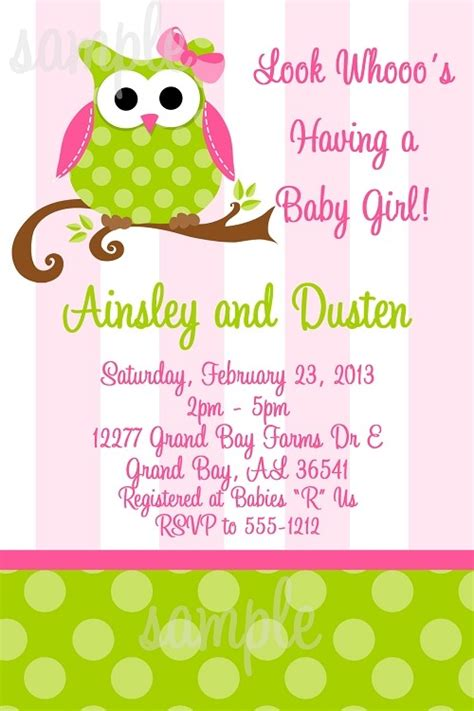Pink Owl Baby Shower by Pink Owl Baby Shower Invitation