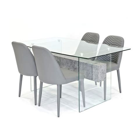 Halley Glass Dining Table Rectangular In Clear And 4 Grey Clear Glass Dining Table And 4 Chairs