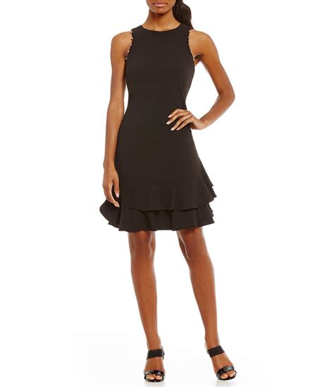 ruffle hem a line dress ivanka stud trim ruffle flounce hem a line dress in