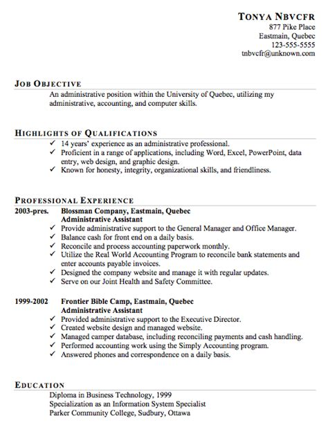 Administrative Assistant Qualifications by Resume Exles Templates Exle Resumes For Administrative Assistant Resume Templates Free