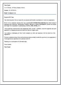 Letter For Fresher Engineer cover letter format for freshers