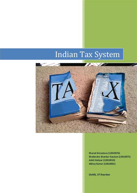 Mba Taxation Programs In India by Report Indian Tax System