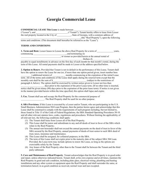 free printable lease agreement georgia free download georgia commercial lease agreement sle
