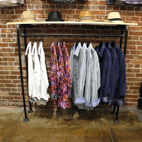 industrial pipe clothing garment wall rack by