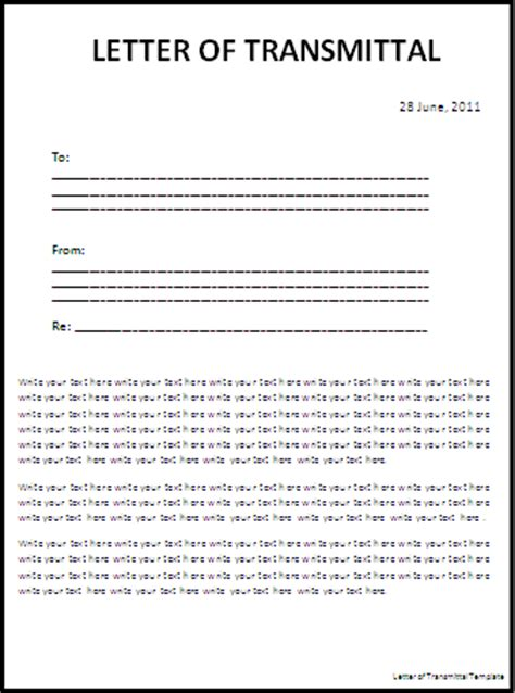 Transmittal Letter Of Documents Letter Templates Free Word S Templates