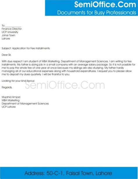 Application Letter To Principal For Late Of Documents Application For Fee Installments Semioffice