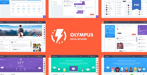 Olympus Social Network Psd Template By Odin Design Themeforest Social Network Website Design Template