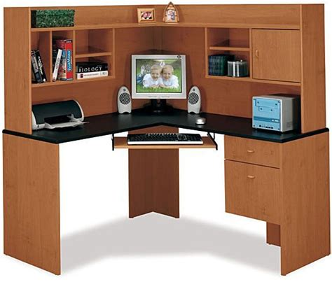Corner Office Desk Hutch Bush Hm38410 Corner Desk And Hutch Centra Collection Cherry Finish Box Drawer For