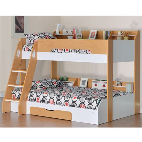 triple bunk beds for kids flick triple bunk bed in beech and white bunk beds