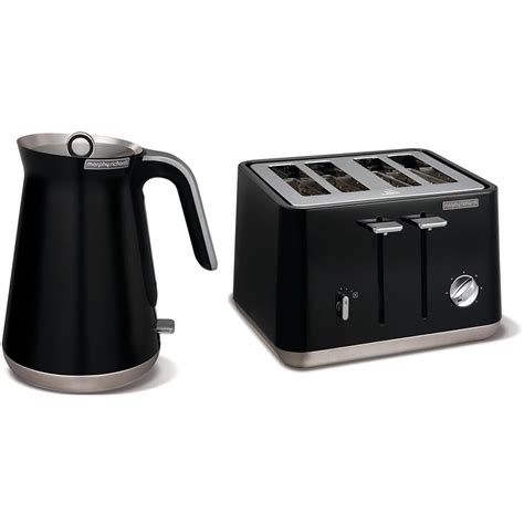 Black Kettle And 4 Slice Toaster Black Morphy Richards Aspect Stainless Steel 1 5l Kettle