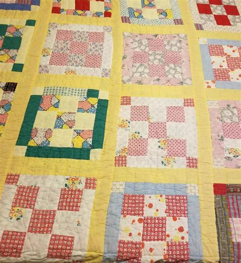 Patchwork Quilt Cutters - vintage 9 patch cutter quilt cotton and feedsack fabric