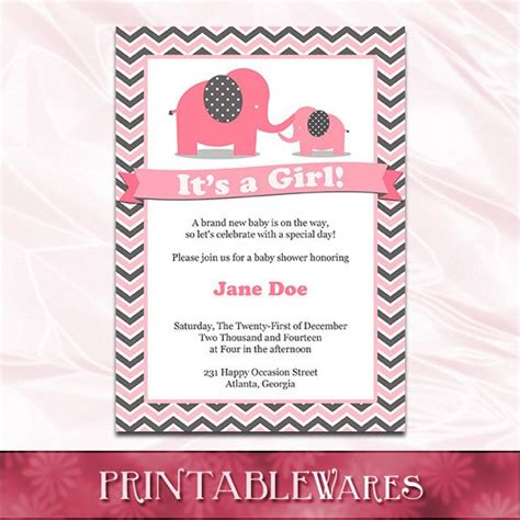 Pink Elephant Baby Shower Invitation Template Pink And Gray Elephant Baby Shower Invitations Templates
