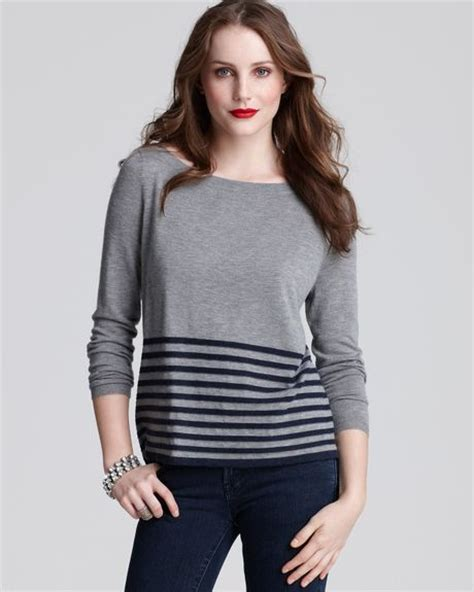 Bordir Sweater joie border stripe sweater in gray grey