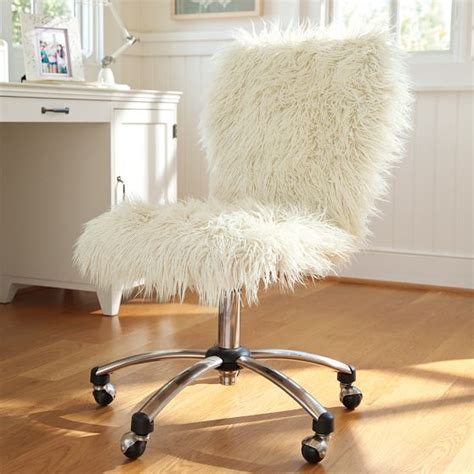 fuzzy white desk chair furry desk chair pottery barn hack