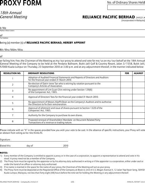proxy form annual report 2010
