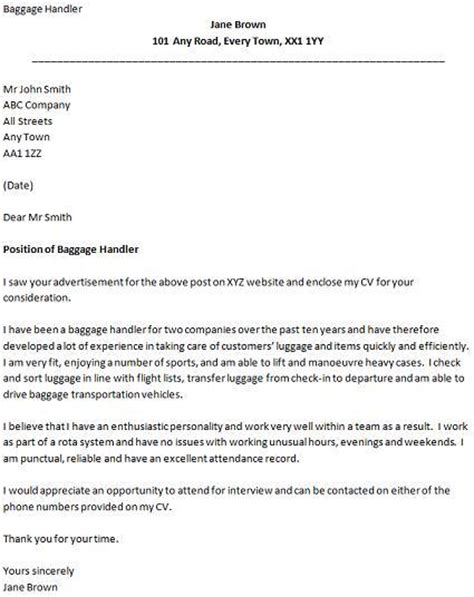 Cover Letter for a Airport Baggage Handler Job  icover.org.uk