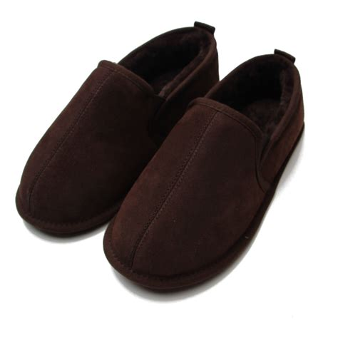 mens slippers soft sole deluxe mens liam sheepskin slippers with soft sole chocolate