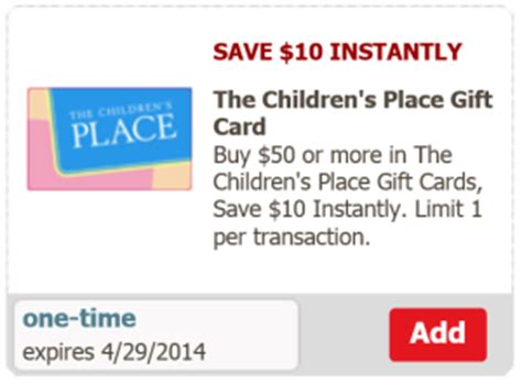 Children S Place Gift Card - safeway save 10 on a 50 children s place gift card