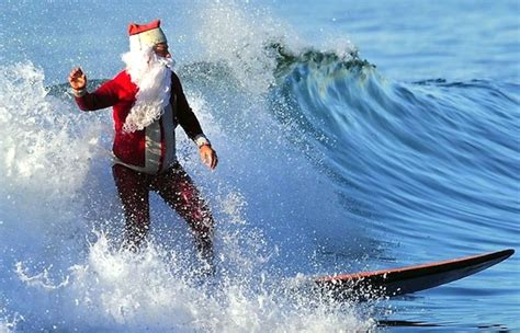 santa surfs surfer dad
